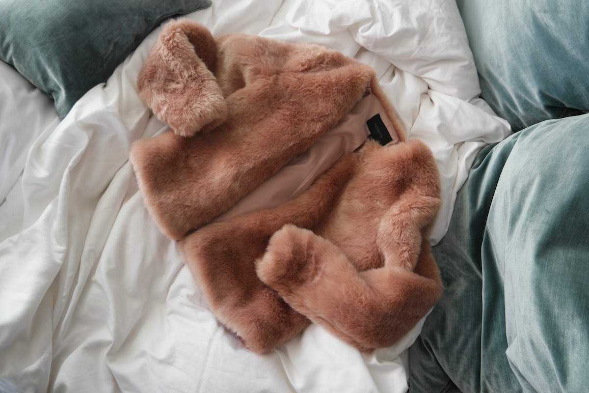 That peachy pink faux fur