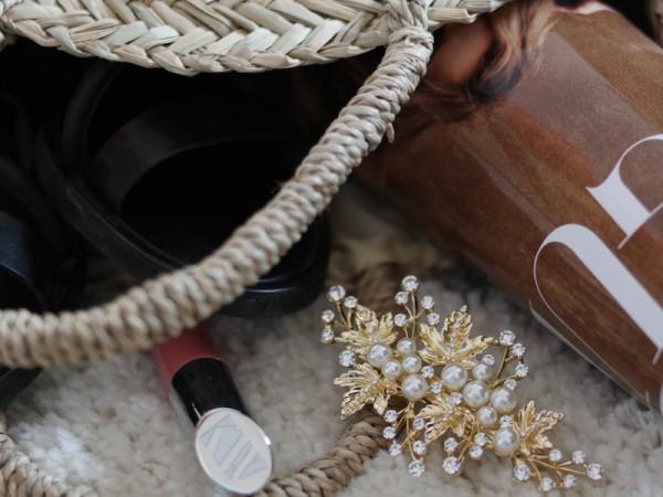Vinn hårspenne med gull og perler // Ladybirds Nest
