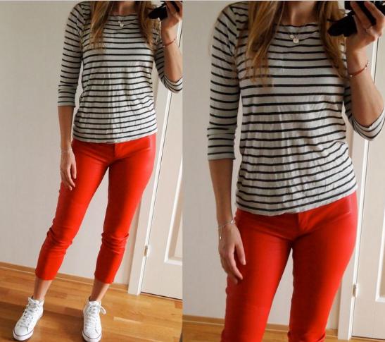 100414 – røde skinnbukser og striper