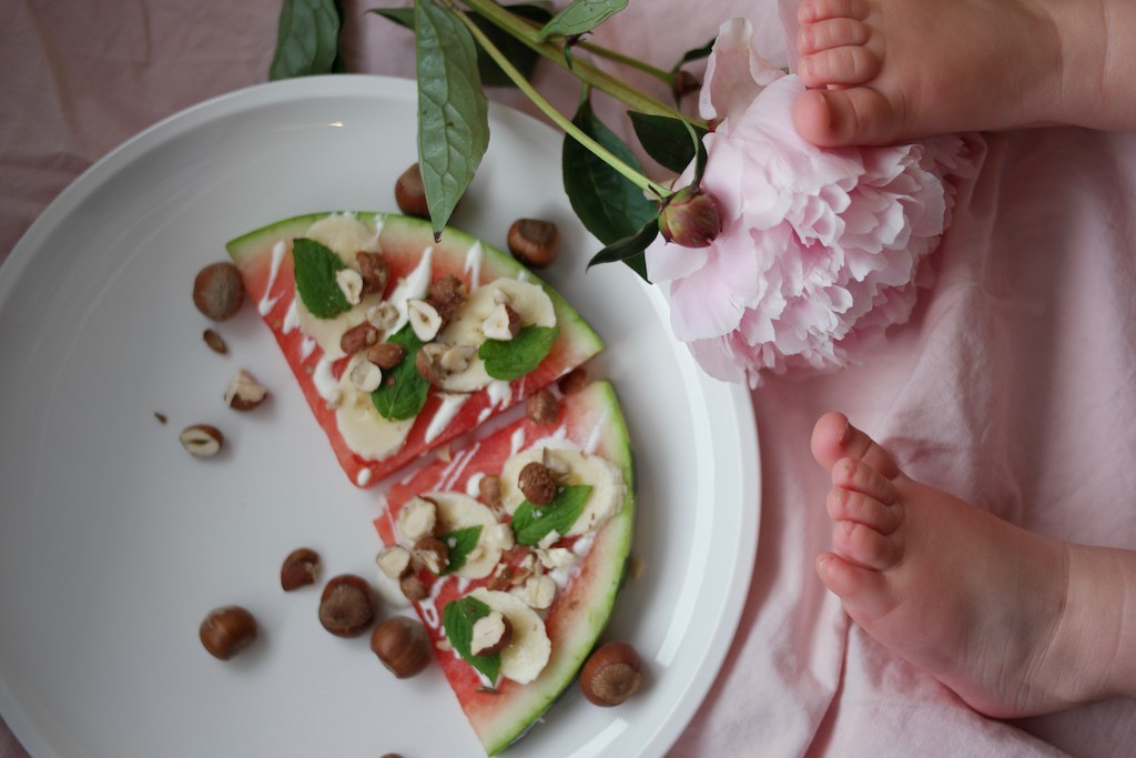 Vannmelonpizza #1 – banan og hasselnøtter