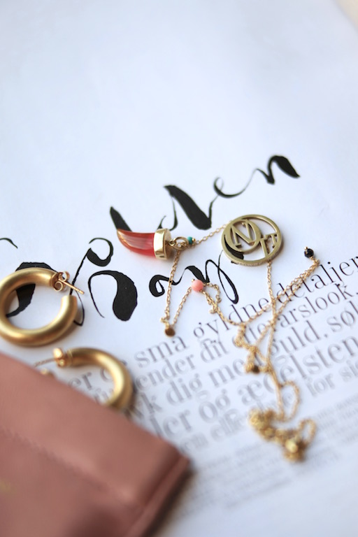 Golden hoops and necklace
